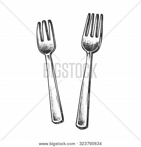 Forks Metallic Meal Kitchenware Monochrome Vector. Stainless Dinner Forks Dishware. Metal Mealtime R