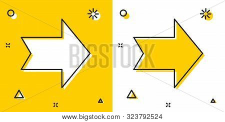 Black Arrow Icon Isolated On Yellow And White Background. Direction Arrowhead Symbol. Navigation Poi