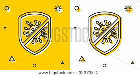 Black Stop Virus, Bacteria, Germs And Microbe Icon Isolated On Yellow And White Background. Antibact