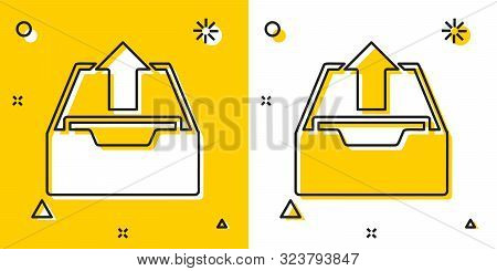 Black Upload Inbox Icon Isolated On Yellow And White Background. Extract Files From Archive. Random