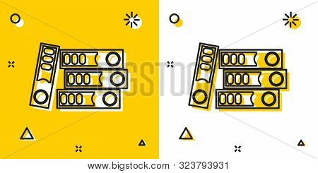 Black Office Folders With Papers And Documents Icon Isolated On Yellow And White Background. Office