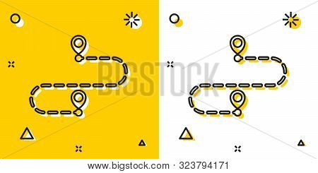 Black Route Location Icon Isolated On Yellow And White Background. Map Pointer Sign. Concept Of Path
