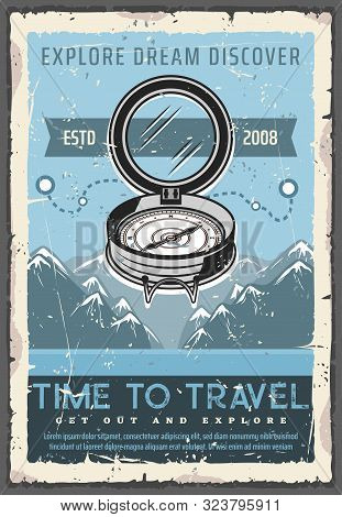 Retro Navigation Compass, Time To Travel, Discover Or Explore Dreams. Vector Ancient Nautical Rouse
