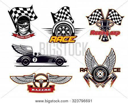 Motor Sport Symbols, Racing Club Isolated Icons. Vector Racer In Protective Helmet, Racing Checkered