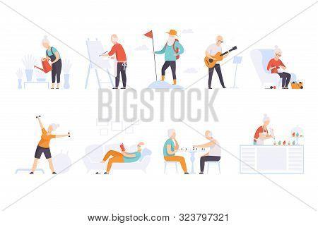 Elderly People Enjoying Various Hobbies, Senior Men And Women Leading An Active Lifestyle Social Con
