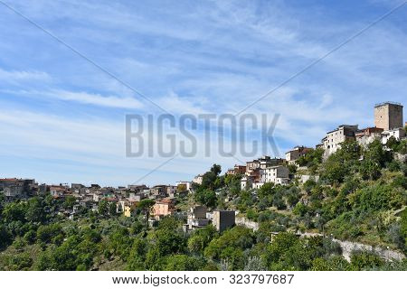 Panoramic View Of An Old Italian Town In The Mountains Of The Lazio Region