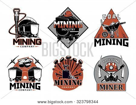 Mining Industry, Professional Miner Work Tools Isolated Icons. Vector Wheelbarrow And Crossed Picks,