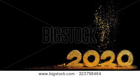 2020 New Year luxury design concept. Golden 2020 New Year horizontal template with golden glitter on black backgound