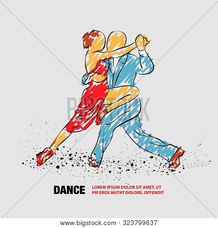 Couple Dancing Tango. Vector Outline Of Tango Dance With Scribble Doodles.