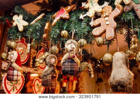 Traditional seasonal items and gifts at Christmas market (Christkindlmarkt) stall in Central Berlin, Germany