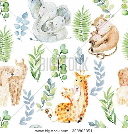 Seamless Pattern. Watercolor Animals Mom And Babies
