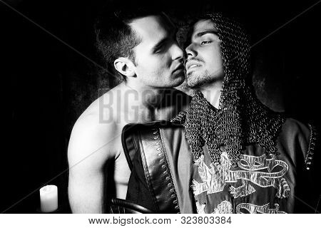 Forbidden Gay Love, A Shirtless Man And A Knight In Full Armour, About To Kiss