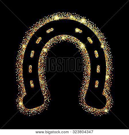 Black Horseshoes On Gold Glitter. Hoof Horse. Symbol Luck. Vector Illustration.