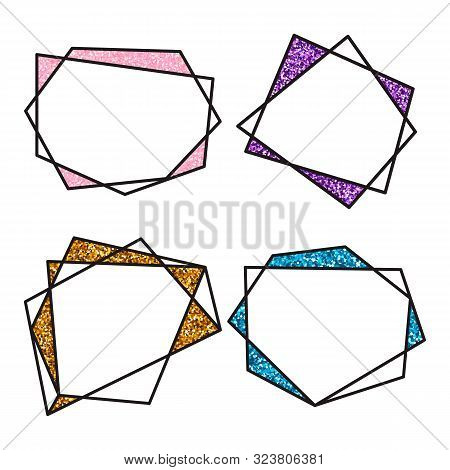 Vector Illustration. Set Geometric Polygonal Black Linear Frame. Cristal Shapes With Glitter. For De