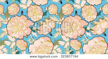 Romantic Elegant Festive Peony Botanical Pattern, Modern Peony Blossom In Pastel Tones. With Butterf