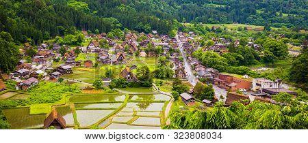 Panorama Traditional And Historical Japanese Village Shirakawago In Gifu Prefecture Japan, Gokayama