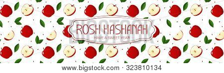 Rosh Hasanah. New Year Banner With Apple, Leaf Pettern. Happy New Year In Israeli.