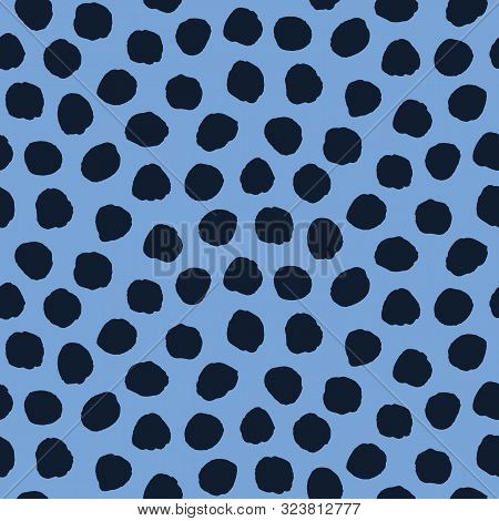Seamless Pattern. Indigo Blue Hand Drawn Imperfect Polka Dot Spot Shape Background. Monochrome Textu