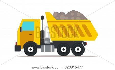 Dump Truck Flat Vector Illustration. Professional Heavy Machinery Isolated Design Element. Yellow Ti