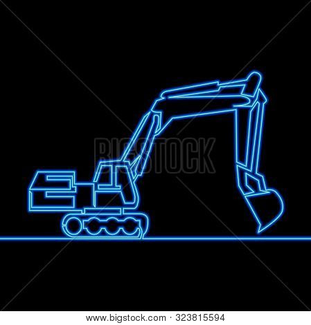 Continuous One Single Line Drawing Backhoe Excavator Icon Neon Glow Vector Illustration Concept
