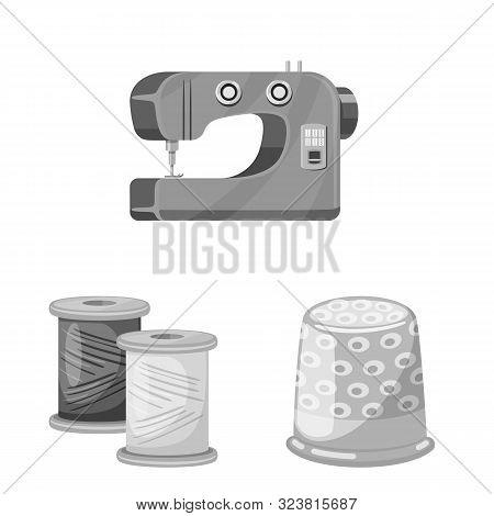 Vector Design Of Dressmaking And Textile Logo. Set Of Dressmaking And Handcraft Vector Icon For Stoc