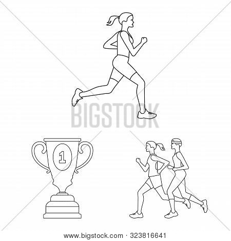 Isolated Object Of Exercise And Sprinter Symbol. Set Of Exercise And Marathon Stock Symbol For Web.