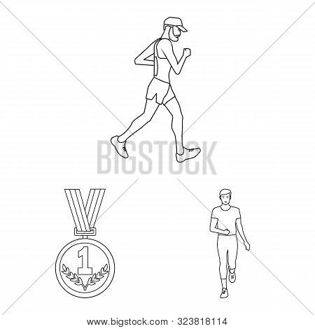 Isolated Object Of Exercise And Sprinter Logo. Collection Of Exercise And Marathon Vector Icon For S