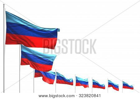 Cute Holiday Flag 3d Illustration  - Many Luhansk Peoples Republic Flags Placed Diagonal Isolated On