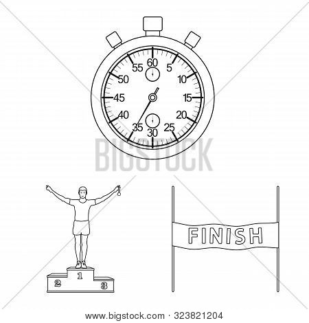 Vector Design Of Exercise And Sprinter Symbol. Set Of Exercise And Marathon Stock Symbol For Web.