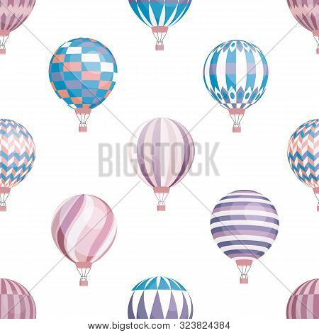 Air Balloons Vector Seamless Pattern. Flying Aircrafts On White Background. Aerial Transportation. H