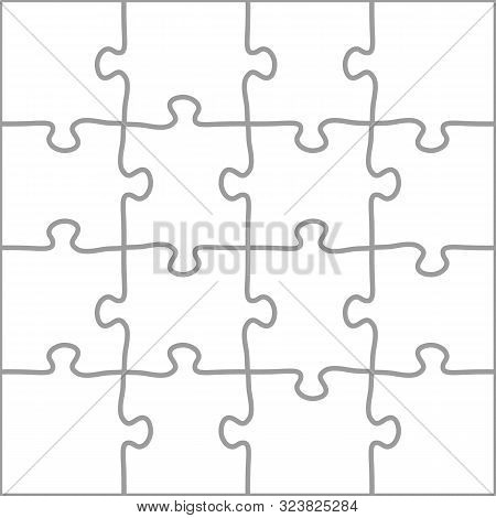 Complete Square Puzzle Vector Template. Jigsaw Puzzle For Print 16 Pieces. Editable Stroke For Custo