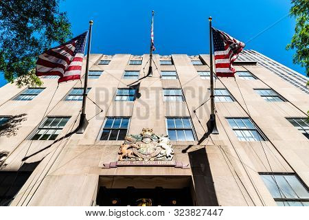 New York City, Usa - June 26, 2018: Low Angle View Of Rockefeller Center In Manhattan Against Blue S
