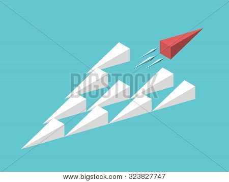 Isometric Unique Red Wedge Moving Away From Group. Uniqueness, Trend, Freedom, Individuality, Innova