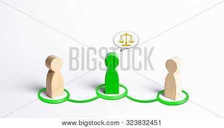 A Green Man Mediates Between Two People. Judge The Two Sides And Come To A Compromise. Negotiations,