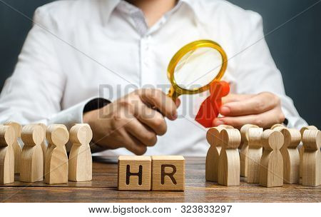 The Hr Examines A Candidate Red Figure. Recruiting New Workers, Headhunters Human Resources. Search