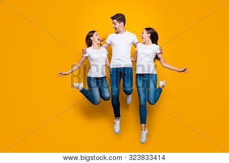 Full Length Body Size View Portrait Of Three Nice Attractive Lovely Slim Fit Cheerful Cheery Friendl