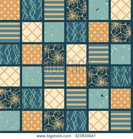 Seamless Pattern. Hand Drawn Patchwork Quilt Grid. Festive Folk Art Mosaic Collage Background. Tradi
