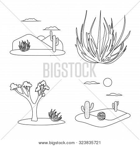 Isolated Object Of Wilderness And Texas Icon. Collection Of Wilderness And Pasture Stock Vector Illu