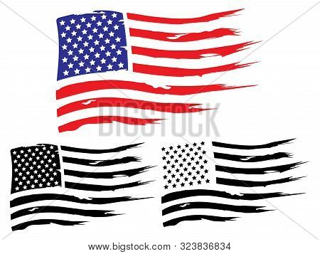 Vector Usa Grunge Flag, Painted American Symbol Of Freedom. Set Of Black And White And Colored Flags