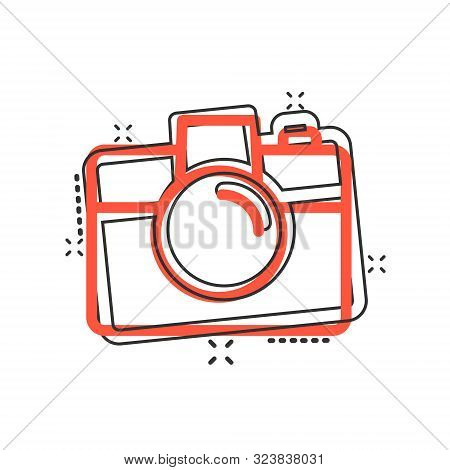 Camera Device Sign Icon In Comic Style. Photography Vector Cartoon Illustration On White Isolated Ba
