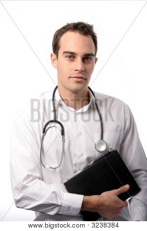 Handsome young doctor with stethescope and black book poster