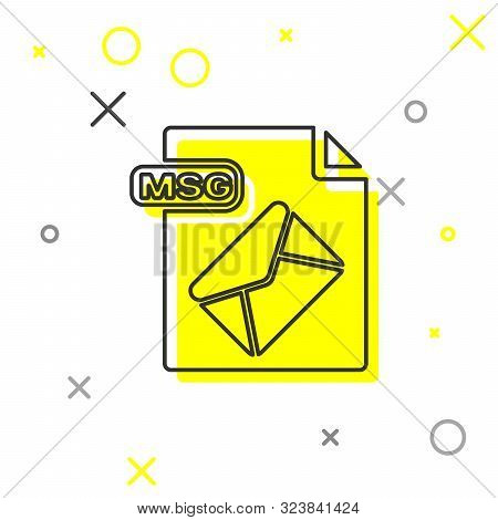 Grey Line Msg File Document. Download Msg Button Icon Isolated On White Background. Msg File Symbol.