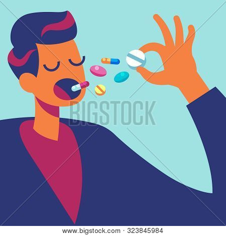 Pills In Mouth. Man Eating Many Drugs. Hand With Overdose Of Medicine. Drug Addiction Treatment And