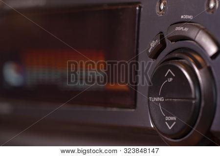 Detail Of Hi-fi Amplifier. Vintage Equipment. Macro Shot. Close-up.
