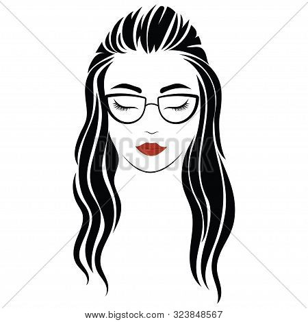 Portrait Of A Girl With Glasses. Head Of A Beautiful Girl. Face Of A Young Woman With A Female Haird