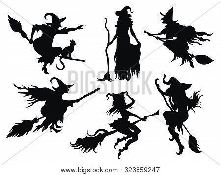 Set Of Black Silhouettes Of Witches Flying On A Broomstick. A Collection Of Silhouettes For Hallowee