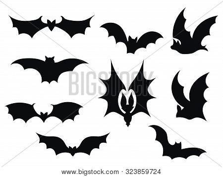 Set Bats. Collection Of Bats. Flying Bats. Halloween. Set Of Black Silhouettes. Cartoon Bats. Line A