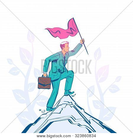 Businessman Hold Red Flag On Top Of Mountain. Goal Achievement. Mountain Peak As A Symbol Successful