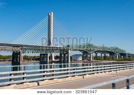 Montreal, Canada - 19 September 2019: New Champlain Bridge Next To Old Champlain Bridge From Estacad