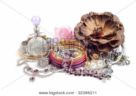 Accessory and swiss watch with jewelry over white poster